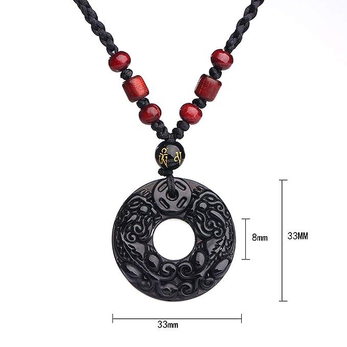 AOCT SHOP-necklace Cordón Ajustable Redondo Donut Piedra semipreciosa Colgante Collar Hombres Mujeres Obsidiana Talla de Bestia: Amazon.es: Hogar