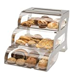 Rosseto BK010 3-Tier Acrylic Stainless Steel Bakery Display Stand, Clear