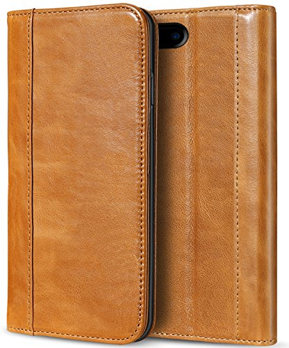 ProCase iPhone 8 Plus 7 Plus Genuine Leather Case, Wallet Folding Flip Case with Kickstand Card Slots Magnetic Closure Protective Cover for Apple iPhone 8 Plus/iPhone 7 Plus -Brown (Best Offer On Iphone 7 Plus)