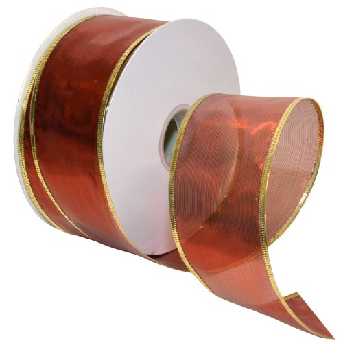 Wired Ribbon Metallic (Morex Ribbon Gleam Wired Metallic Sheer Ribbon, 2-1/2-Inch by 50-Yard Spool, Red)