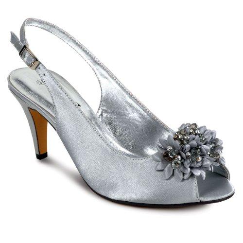 SAPPHIRE BOUTIQUE Zapatos De Vestir Mujer Floreado Cuentas Tacón Bajo Punta Abierta A Juego Cn Bolso Clutch Gris (zapato)