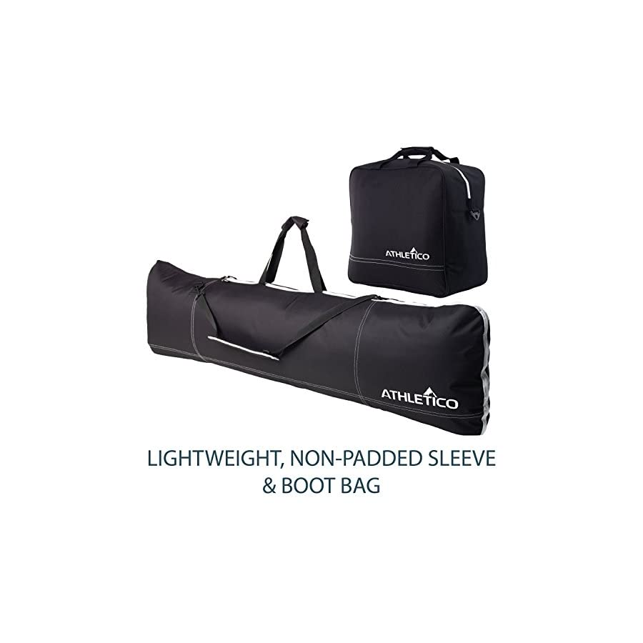 Athletico Two Piece Snowboard and Boot Bag Combo | Store & Transport Snowboard Up to 165 cm and Boots Up to Size 13 | Includes 1 Snowboard Bag & 1 Boot Bag (Black)