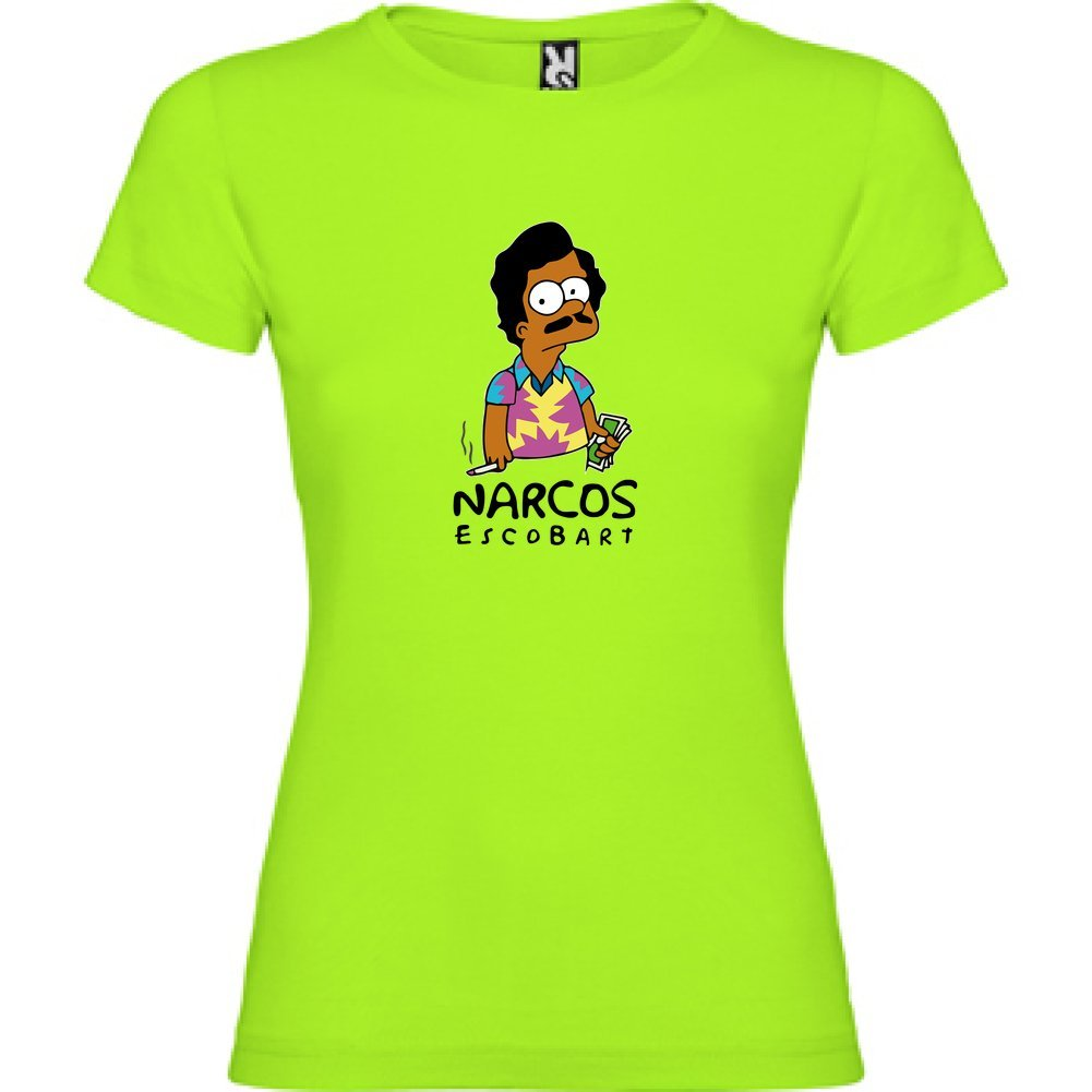 Bikerella T-Shirt Manica Corta Donna Bart Simpson Pablo Escobar Narcos by