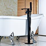 Rozin Floor Mounted Single Handle Bathtub Faucet with Handheld Shower Oil Rubbed Bronze