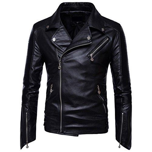 DressU Mens armarios Oversize Comfy Outwear Chaqueta de Cuero de la Motocicleta Black M
