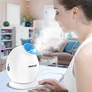 KINGDOMCARES Steamer 3-in-1 Warm Mist Moisturizing Facial Steamer Face Steamer Humidifier Hot Mist Clear Blackheads Acne Facial Hydration Home Sauna SPA Skin Care Atomizer Blue