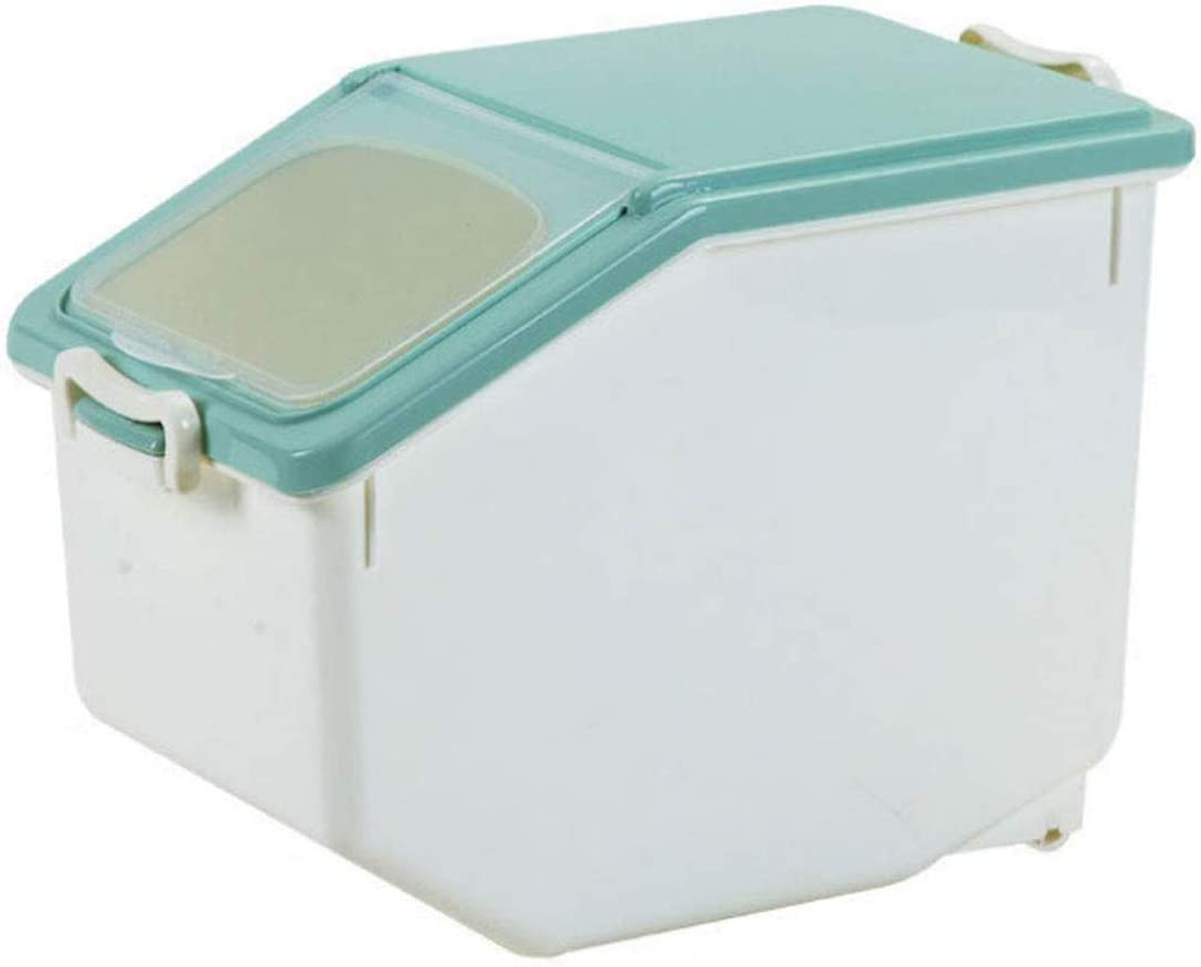 Andifany 10KG/22Lb Rice Storage Container Airtight Food Container with Sealed Cereal Grain Organizer with Wheels for Kitchen(About 50 Cup)