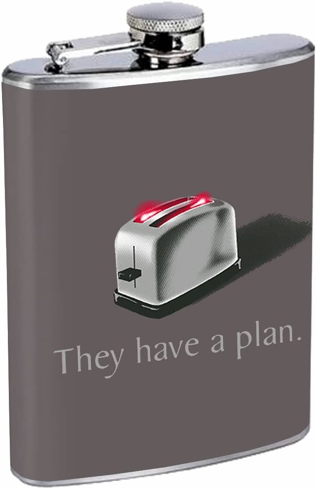 BSG Toaster Cylon SciFi Funny 8oz Stainless Steel Flask Drinking Whiskey