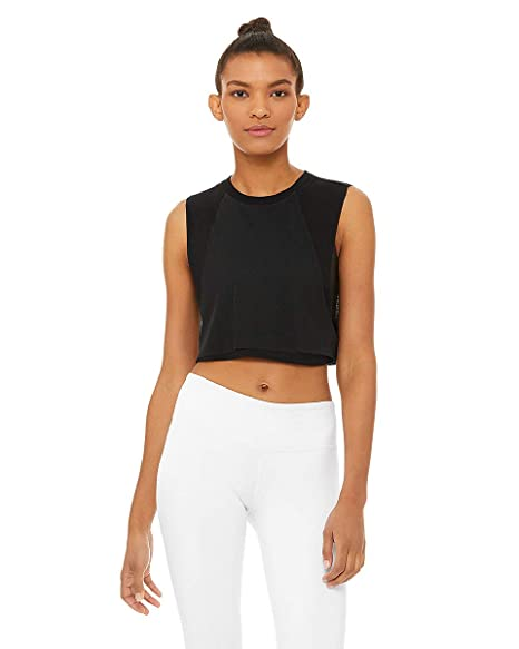 Alo Yoga Womens Mirage Crop Tank Black M at Amazon Womens ...