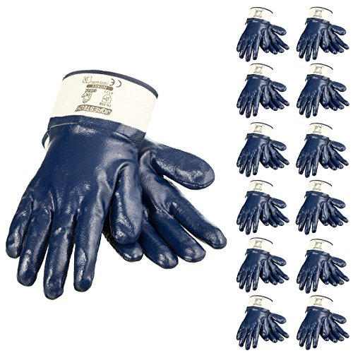 JORESTECH Fully Dipped Nitrile Coated Knit Work Gloves PPE Hand Protection (Extra Large) Pack of 12,Blue