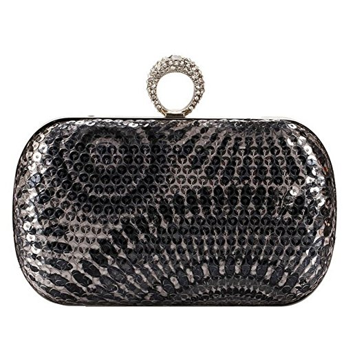 Deercon One Ring Rhinestone Studded Knuckle Duster Mini Sequin Womens Evening Clutch Purses(gray)
