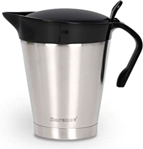 Rorence Stainless Steel Double Insulated Gravy Boat Sauce Jug with Hinged Lid for Thanksgiving Dinner - 32 Oz
