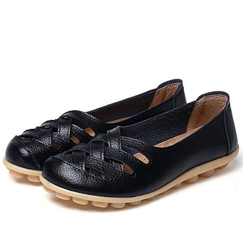 CIOR Damen Echtes Leder Loafers Casual Mokassin Fahr Schuhe Indoor Flache Slip-On Hausschuhe 4.schwarz