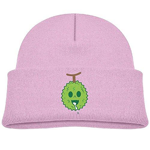 Hinanqugu Kids Durian Cartoon Unisex Winter Warm Knit Hat Cute Soft Stretch Lined Beanie Cap Pink