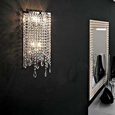 Contemporary Crystal Wall Sconce - LITFAD Modern Elegant Crystal Wall Light for Bedroom Entryway Living Room