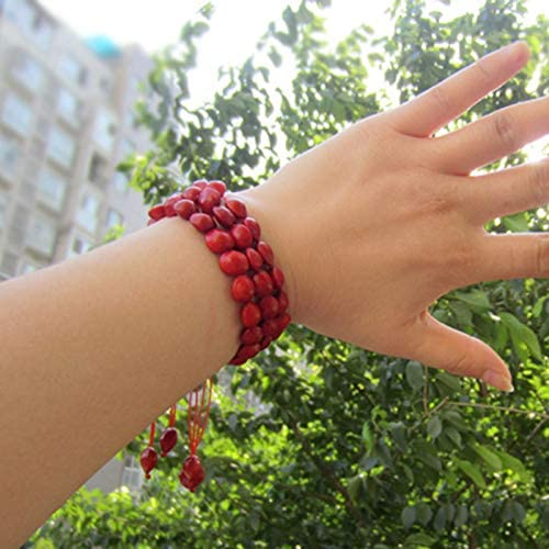 Gimax Strand Bracelets Wholesale Natural Acacia Red Beans Bracelets Red rope Weave Bodhi beans Bracelet Bodhi red bean For Women Men Wood Seed jewelry