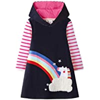 VIKITA Toddler Flower Girl Dress Cotton Long Sleeve Baby Girls Winter Dresses for 2-8 Years, Knee Length Edition