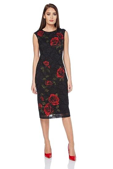 23f499e2c0 Roman Originals Women s Painted Rose Lace Little Black Dress - Ladies Roses  Classy Formal Pencil Dresses Graduation Christmas Party Sparkle LBD - Red -  Size ...