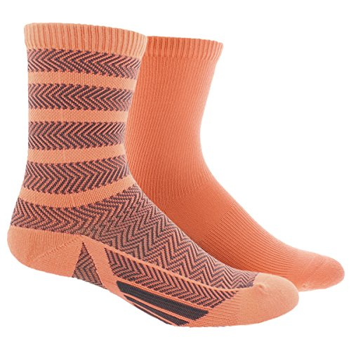 adidas Women's Studio Crew Socks (2 Pack), One Size, Sun Glow Orange/Deepest Space
