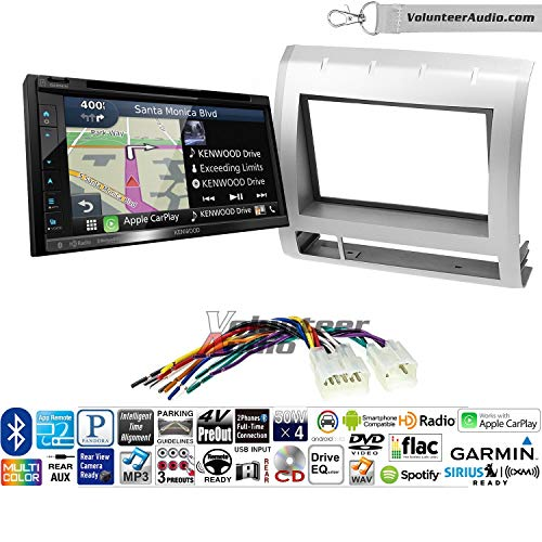 Volunteer Audio Kenwood DNX575S Double Din Radio Install Kit with Apple CarPlay, Android Auto, Navigation Fits 2005-2011 Non Amplified Toyota Tacoma (Light Silver)