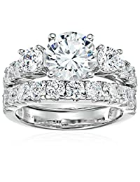 Sterling Silver Cubic Zirconia Round, 3-Stone Bridal Set, Size 6