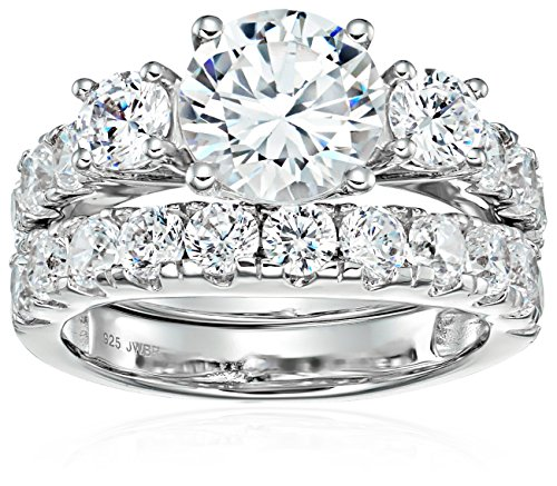 Jewelili Sterling Silver Cubic Zirconia Round, 3-Stone Bridal Set, Size 8