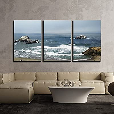 Dazzling Piece of Art, Top View of Sea Shore x3 Panels, Quality Creation