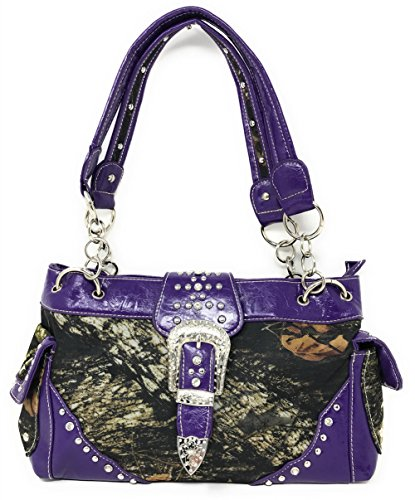 Rhinestone Shoulder in Wallet Handbags Camouflage Concealed Purple Carry colors Leather multi Buckle rx8awqH6Xr