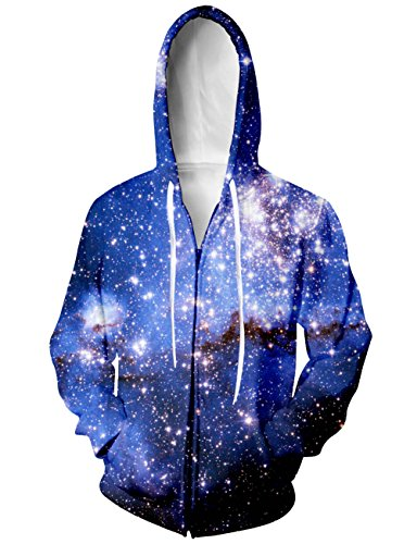 Raisevern Unisex 3d Galaxy Printed Casual Graphic Zip Up Hoodies Sweatshirt, Galaxy 4, Small