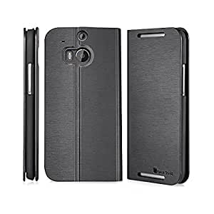 GreatShield SHIFT LX Leather Wallet Flip Case with Stand for HTC One M8 (2014) - Retail Packaging (Black)