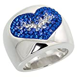 Sterling Silver Heart Blue Sapphire Rainbow CZ Cigarband Ring 11/16 inch, size 7