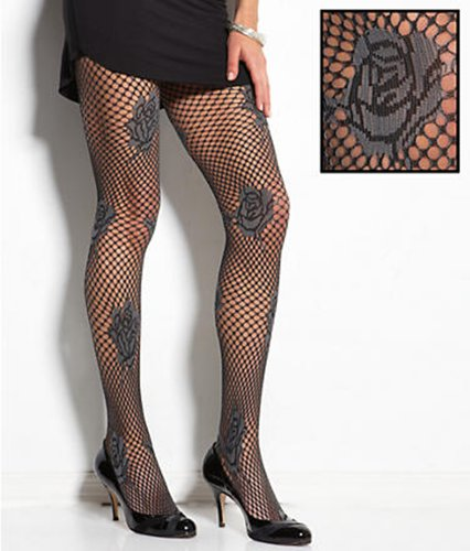 Hue Women's Floral Textured Net Tights U13023 Steel (S/M) by HUE