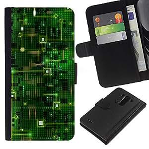 KingStore / Leather Etui en cuir / LG G3 / Código Chip Tecnología Arte Verde
