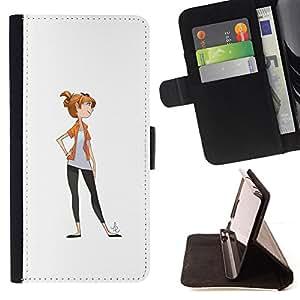 - character drawing girl white minimalist - - Prima caja de la PU billetera de cuero con ranuras para tarjetas, efectivo desmontable correa para l Funny HouseFOR LG G2 D800
