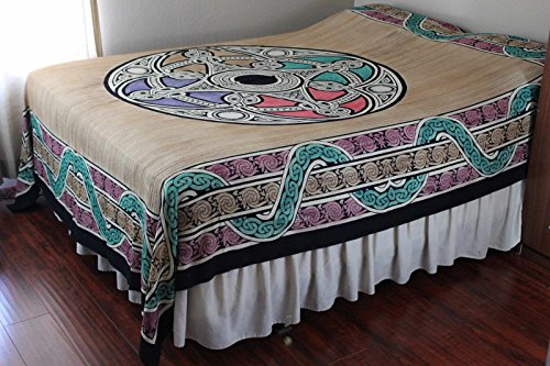 Celtic Tapestry, Celtic Bedspread Queen, Thin Cotton Throw Beach Blanket Bed sheet, Celtic Bedding Queen Dorm Tapestry Tan Beige Queen 106 x 106 inches by India Arts