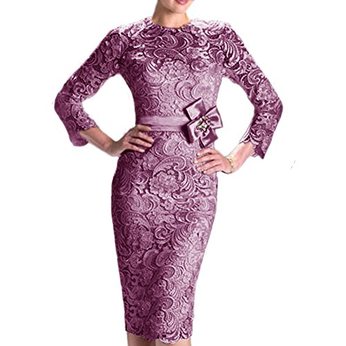 Tivansi Women's Knee Length Lace Mother of the Bride Dress with Long Sleeve