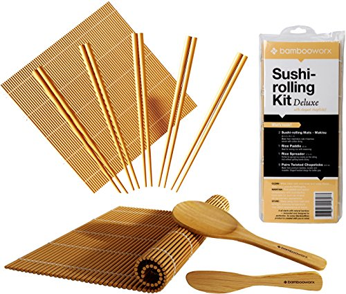 Sushi Rolling Mat (BambooWorx Deluxe Sushi Making Kit + Chopsticks- 5 Pairs Elegant Chopsticks, 2 Sushi Rolling Mats, 1 Rice Paddle, 1 Rice Spreader, 100% Bamboo, Sushi Mats & Utensils.)