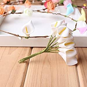 HZOnline Artificial Mini Calla Lily Flower Heads, Fake Floral Bouquet Head for Crafts Scrapbooking Garden Wedding DIY Making Bridal Garland Hair Clips Headbands Decoration (144pcs White) 4
