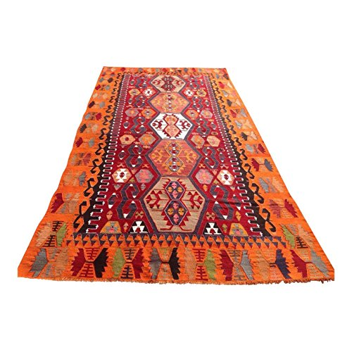 Vintage Turkish Kilim Rug - 5′4″ × 10′6″