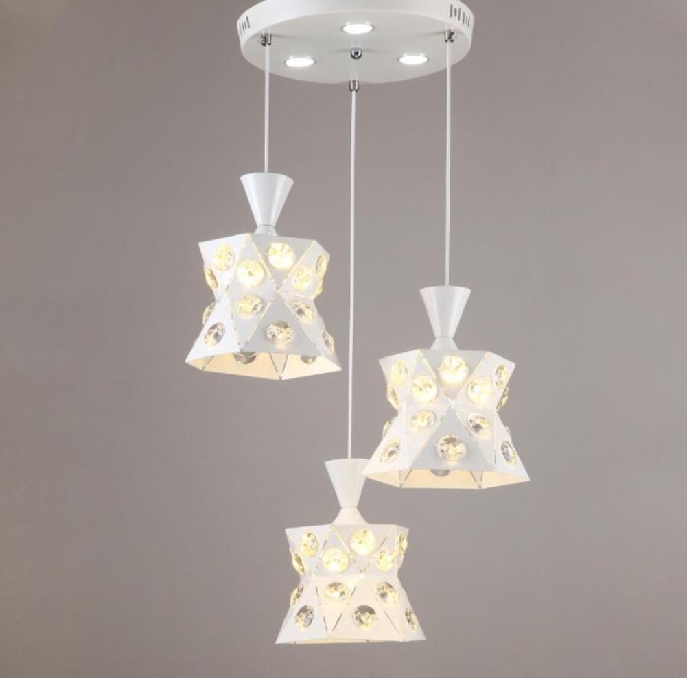 GL&G Iron Light Crystal Chandelier Pendent Light for Hallway,Bedroom,Kitchen,Kids Room,LED Bulb Included, Warm White Light,3 head,1924cm