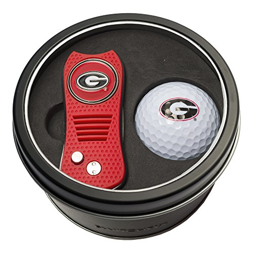 Team Golf NCAA Georgia Bulldogs Gift Set Switchblade Divot Tool with Double-Sided Magnetic Ball Marker & Golf Ball, Patented Single Prong Design, Less Damage to Greens, Switchblade Mechanism