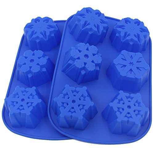 Zicome 6 Cavity Snowflake Silicone Mold for Soap Making, Set of 2, Blue