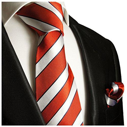 Rouge argent rayé ensemble de cravate 2 Pièces ( longueur 165cm )