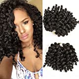 8 inch 5 packs Wand Curl 2X Synthetic Braiding Hair Crochet 22 roots/1pack Jamaican Bounce Synthetic Hair Extension 65g…