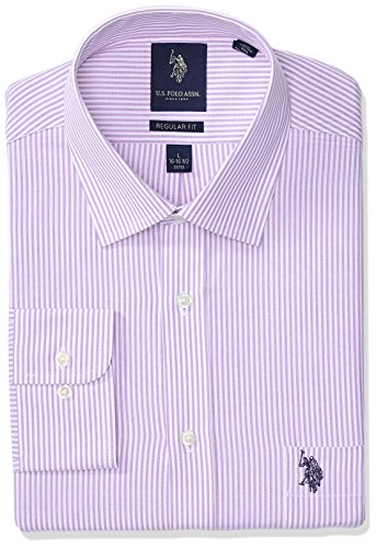 U.S. Polo Assn.. Men's Reguar Fit Striped Semi Spread Collar Dress Shirt, Bengal Stripe Light Purple/White, 17