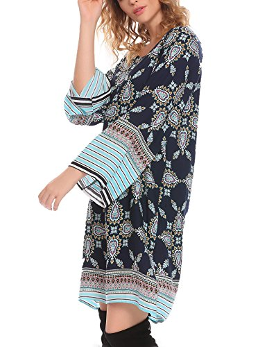 Plus Straight Dress blue Printed Tunic Bohemian Style Women HOTOUCH Ethnic Size Loose Shift 4 vIUqF