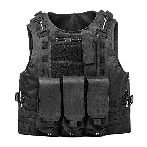 LXY&AI Military Tactical Vest - Army Polyester Air Gun Hunting Combat Vest - Airsoft Paintball Shooting Vest - Detachable Pouch Outdoor Jungle - Black,Black