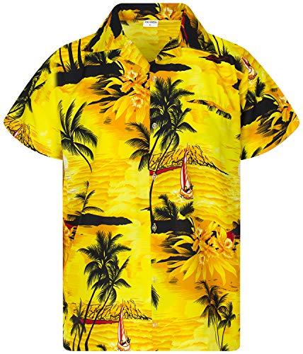 King Kameha Funky Hawaiian Shirt, Shortsleeve, Surf, Yellow Brownish, XXL ()