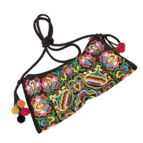 shoulder bag Messenger SODIAL bags body handbag handmade fabric R messenger Clutch embroidery women cross Embroidered one zqqwnBd