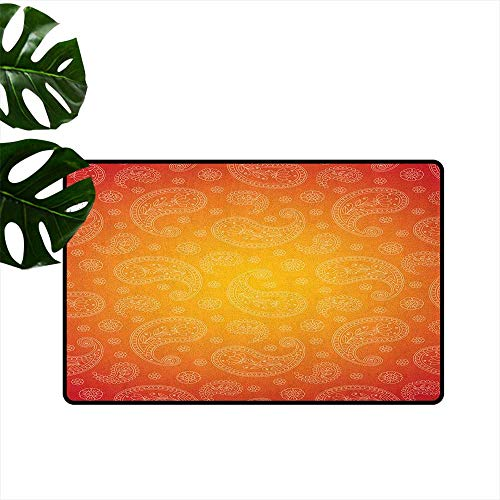 RenteriaDecor Orange,Office Floor mats Ombre Colored and Ethnic Themed Image with Blank Frame and Floral Patterns 16